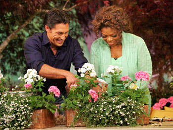 Jamie and Oprah create a window box.