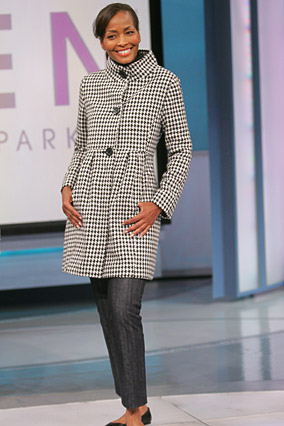 Thea is ready for fall in this houndstooth coat.