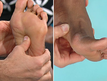 There are several good places for acupressure on your foot.