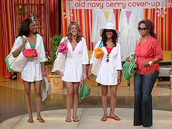 Oprah's staffers model Old Navy's cotton cover-ups.