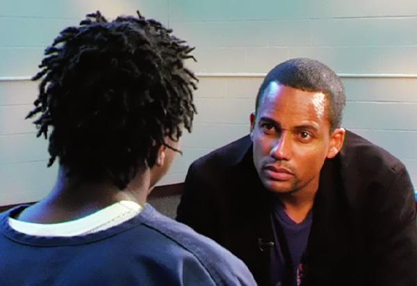 Hill Harper visits juvenile inmates in Orlando, Florida.