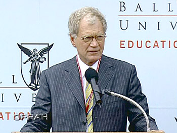 David Letterman speaking at Ball State University