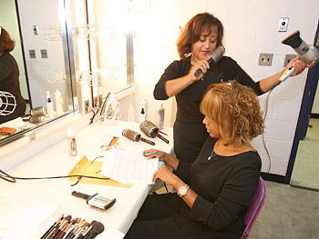 Gayle gets ready for the premiere.