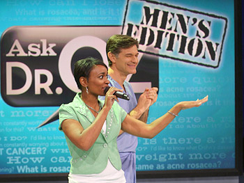 Dr. Oz and a Harpo staff member before the show