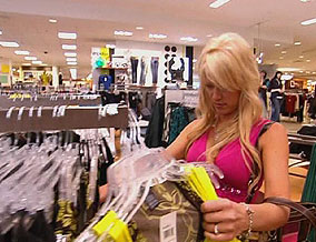 Felice shops for clothes.