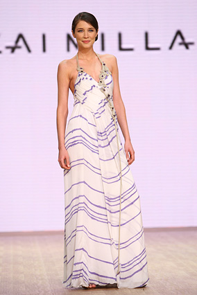 The lilac artisan stripe silk gown