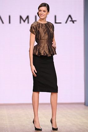 The cocoa taffeta soft pleat top and black basket weave pencil skirt