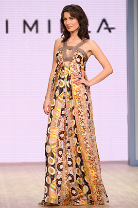 The abstract Klimt chiffon stripe pleat gown