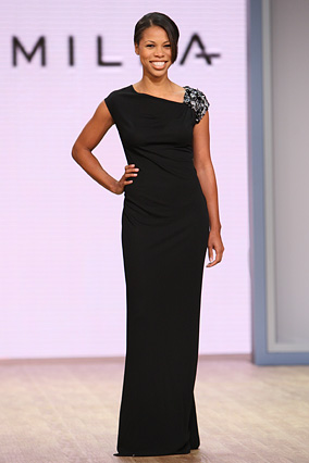 The black pepper matte jersey draped gown