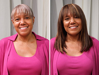 Rolanda before and after her makeover