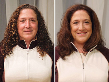 Angela before and after her makeover