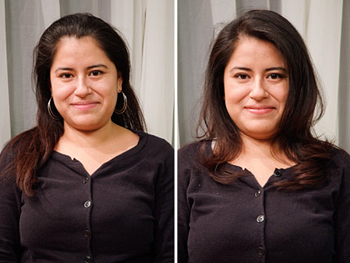 Araceli before and after her makeover