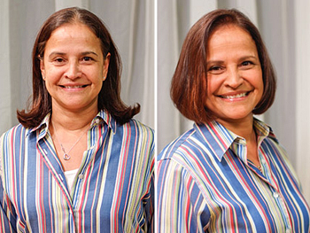 Carmen before and after her makeover