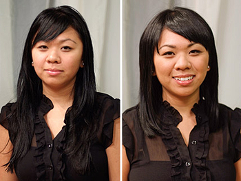 Heang before and after her makeover