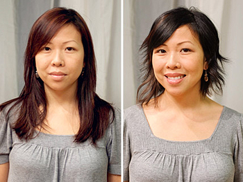Joy before and after her makeover