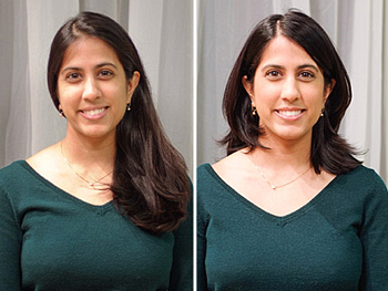 Kavita before and after her makeover