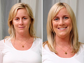 Nicole before and after her makeover