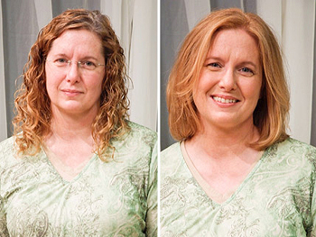 Patty before and after her makeover
