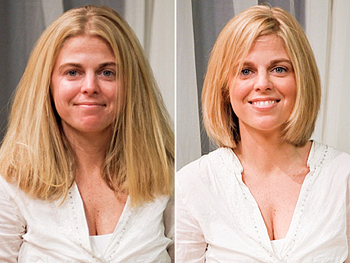 Stacey before and after her makeover