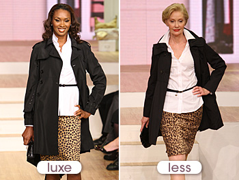 Lloyd's timeless look includes a black trench and animal print skirt.