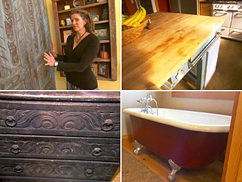 Sally uses salvaged items and goods from garage sales in her home.