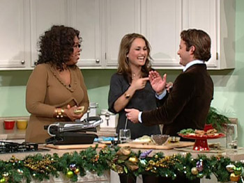 Giada De Laurentiis teaches Nate to cook an appetizer.