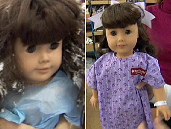 Damaged American Girls get some TLC at the doll hospital.
