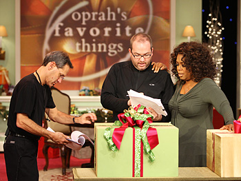 Oprah goes over the show plan.