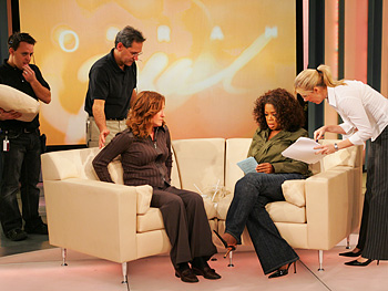 Oprah, Tina and Harpo employees during a break.