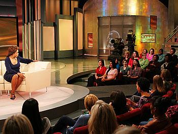 Oprah talks to the audience