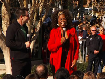 Oprah and Bob talk to the people of Meridian.