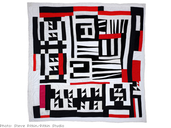 Blocks, strips, strings and half squares quilt by Mary Lee Bendolph