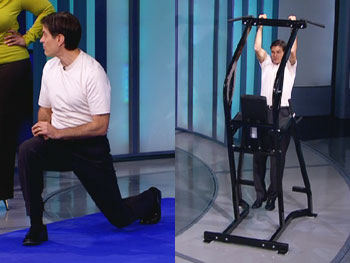 Dr. Oz demonstrates strength training exercises.