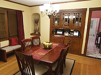The dining room is a peaceful place for family meals.