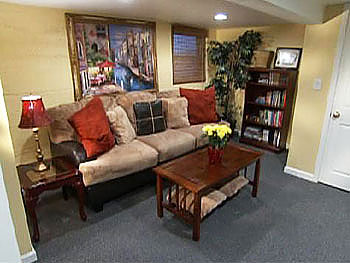 The basement has a lounge, an arts and crafts area and an exercise zone.