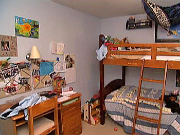 Izzy and Lily's room before the makeover.