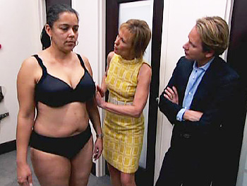 Susan Nethero fits Michael for underwear.