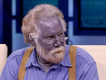 Paul is really blue, it's no makeup or lighting trick.