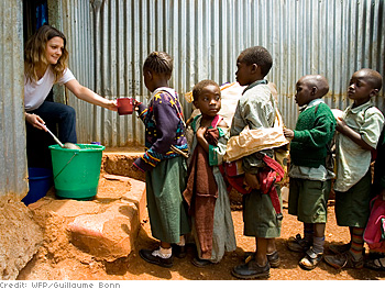 Drew Barrymore dishes out lunches in Nairobi, Kenya.