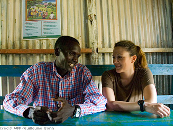 Drew Barrymore and Paul Tergat