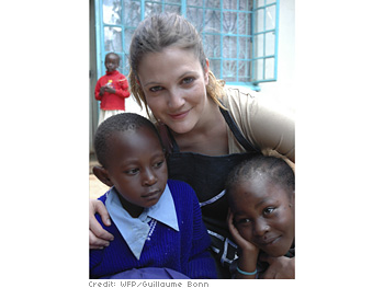 Drew with Kenyan children