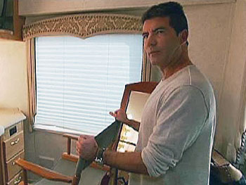 Simon inside his trailer