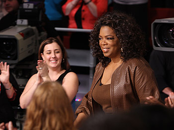 Oprah gets ready to welcome Mariah Carey.