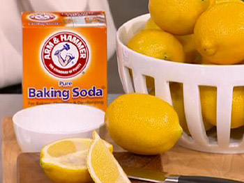 Clean kitchen surfaces with baking soda.