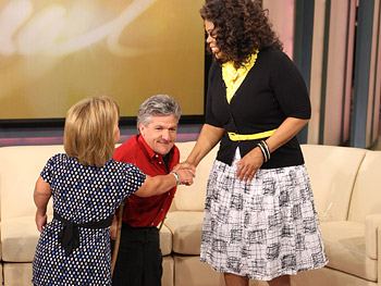 Oprah greets Amy and Matt Roloff.
