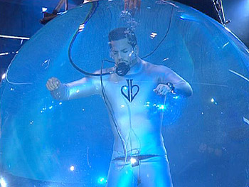 David Blaine's stunt risks critical injury.