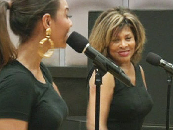 Tina Turner and Beyoncé Knowles practice for the Grammy Awards.