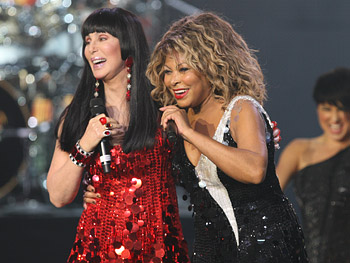Tina Turner and Cher perform 'Proud Mary.'