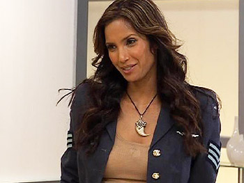 Padma Lakshmi challenges viewers to a sandwich showdown.