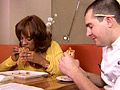 Gayle King samples sandwiches.